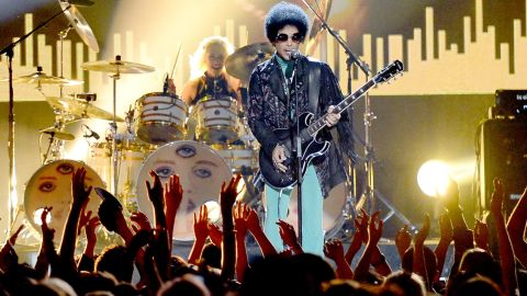 A year later, Prince performs during the 2013 Billboard Music Awards in Las Vegas.