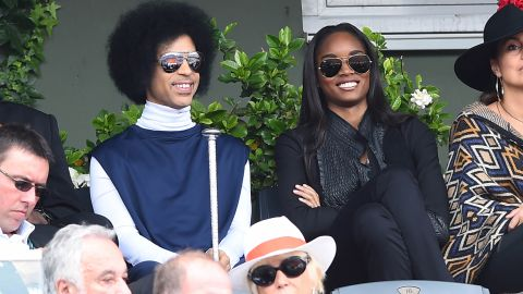 Prince is seen in the stands during the 2014 French Open in Paris.