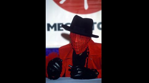 A disguised Prince appears at a Virgin Records in London in 1995.