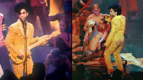 """Showing some skin -- Prince and The New Power Generation perform """"Gett Off"""" at the 1991 MTV Video Music Awards in Los Angeles. This revealing yellow jumpsuit was arguably one of his more outrageous outfits.<br />"""