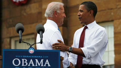 SPRINGFIELD, IL - AUGUST 23:  Presumptive Democratic Presidential candidate U.S. Sen. Barack Obama (D-IL) shakes hands with his Vice Presidential pick Sen. Joe Biden (D-DE) on stage in front of the Old State Capitol August 23, 2008 in Springfield, Illinois. The Obama campaign confirmed this morning Biden had been selected as Obama's running mate.  (Photo by Joe Raedle/Getty Images)