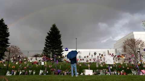 A rainbow appears over Paisley Park near a memorial for Prince in Chanhassen, Minnesota, on Thursday, April 21.