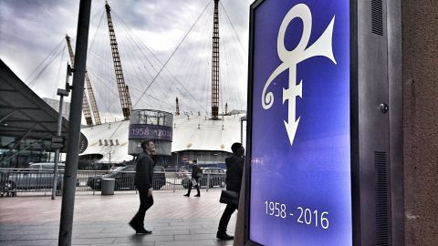 Sign O' the Times: The O2 concert venue in London put tributes to Prince on its screens.