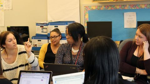 First-grade teachers at P.S. 94 get together regularly to compare reading strategies.