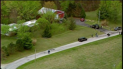 An aerial view of one of the crime scenes.
