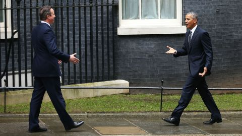 """Obama arrives at Downing Street to meet with Cameron on April 22. <a href=""""http://www.cnn.com/2016/04/22/politics/barack-obama-david-cameron-press-conference/index.html"""">The American leader is urging British voters to reject the chance to leave the European Union</a> in a national referendum scheduled for June."""