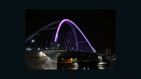In Minnesota, the Lowry Avenue Bridge is lit up in  purple to honor Prince.