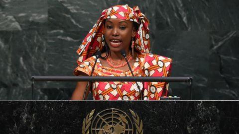Hindou Oumarou Ibrahim addresses the United Nations on Friday.