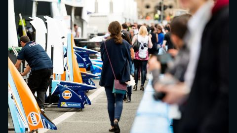 The pit lane was a hive of activity on Friday as teams rushed to prepare the cars -- which have a top speed of 140 mph -- for Saturday's ePrix.
