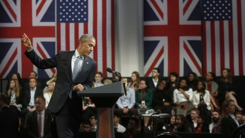 Obama speaks at a news conference in London on Saturday, April 23.