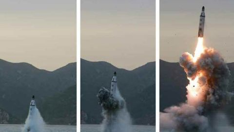 """Images published by North Korean state media purport to show a <a href=""""http://www.cnn.com/2016/04/23/asia/north-korea-launches-missile-from-submarine/"""">submarine-launched ballistic missile</a> (SLBM) off the eastern coast of the Korean peninsula on Saturday, April 23, 2016. Five days later, South Korea claims the North launched <a href=""""http://www.cnn.com/2016/04/28/asia/north-korea-failed-missile-launch/index.html"""">two more missiles on April 28 that failed.</a>"""