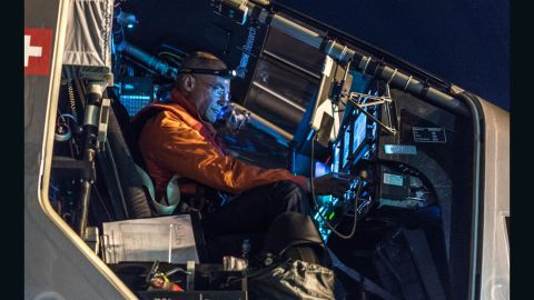 Pilot Bertrand Piccard prepares to take off from Kalaeloa Airport, Hawaii on April 21st 2016, en route to California. The round-the-world solar flight will take 500 flight hours and cover 35,000 km.