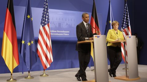 Obama and Merkel hold a news conference after bilateral talks at Herrenhausen Palace on April 24.