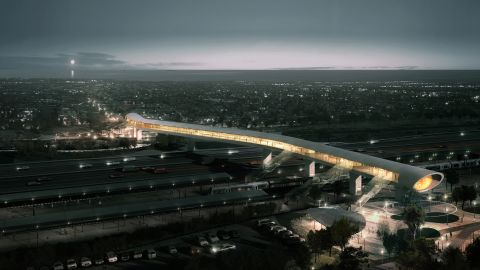 """There's more than meets the eye with this structure. The bridge, designed collaboratively by <a href=""""http://www.cobe.dk/"""" target=""""_blank"""" target=""""_blank"""">COBE Architects</a> <a href=""""http://www.dw.dk/"""" target=""""_blank"""" target=""""_blank"""">Dissing + Weitling</a> and <a href=""""http://www.cowi.com/menu/home/"""" target=""""_blank"""" target=""""_blank"""">COWI</a>, includes passageways for both trains and cars, as well as a full station and park-and-ride facilities. It's set to open in 2018."""