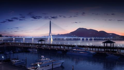 """At just over 3,000 ft, the Danjiang Bridge -- one of the last commissions awarded to the late <a href=""""http://edition.cnn.com/2016/03/31/architecture/zaha-hadid-appreciation/"""">Zaha Hadid</a> -- will be the world's longest single-tower, asymmetric cable-stayed bridge, according to <a href=""""http://www.zaha-hadid.com/"""" target=""""_blank"""" target=""""_blank"""">the firm</a>. <br /><br />The subtle design is meant to have visual impact without obscuring the Taipei sunset."""