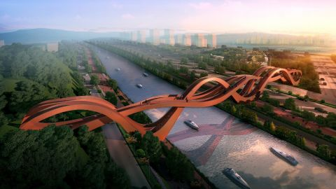 """The name and shape of <a href=""""http://www.nextarchitects.com/en/what/2016/"""" target=""""_blank"""" target=""""_blank"""">NEXT Architects</a>' Lucky Knot Bridge  refers to the Chinese art of decorative knotting, which is associated with good luck."""