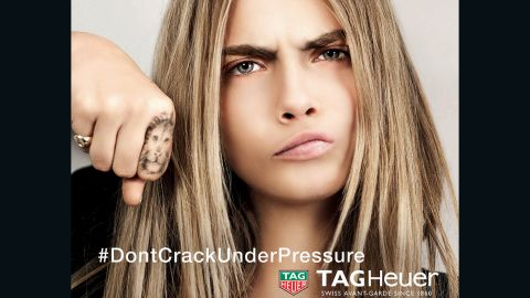 The British model Cara Delevingne in a current advert for Tag Heuer with a logo penned by World Rugby boss Brett Gosper