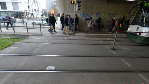 The German city of Augsburg has installed lights on the ground to warn distracted pedestrians.