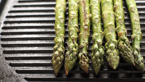 """Contrary to grilling, which normally involves some sort of charcoal, """"griddling"""" uses a pan with distinctive raised edges and is normally done on the stove or in the oven.<br /><br />Vegetables such as asparagus, griddled with a tiny bit of olive oil, can develop intense flavor and be quite healthy. It's also an especially good choice for green beans,  broccoli, celery, Swiss chard and onions."""