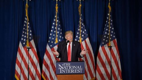 Republican presidential candidate Donald Trump delivers a foreign policy speech at the Mayflower Hotel April 27, 2016 in Washington, DC.