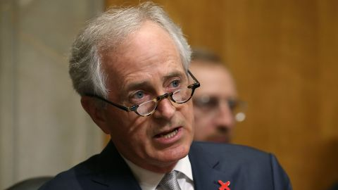 Chairman Bob Corker (R-TN) questions Secretary of State John Kerry, during a Senate Foreign Relations Committee hearing, on Capitol Hill February 23, 2016 in Washington, DC.
