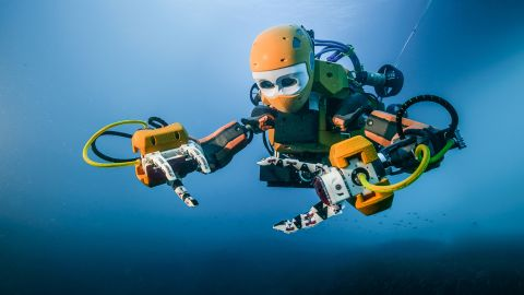 The robot features twin cameras and delicate haptic-feedback hands mounted on fully articulated arms and wrists.