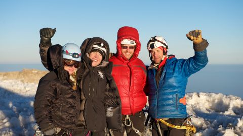 In May, 1st Lt. Elyse Ping Medvigy, 2nd Lt. Harold Earls and retired Staff Sgt. Sergeant Chad Jukes (left to right) will attempt to summit Mount Everest as part of U.S. Expeditions and Explorations to raise awareness for veterans struggling with PTSD and suicide. Capt. Matt Hickey (far right), who participated in a team-building practice climb with them on Mount Rainier in Washington in August, is the CEO of USX and will provide ground support.