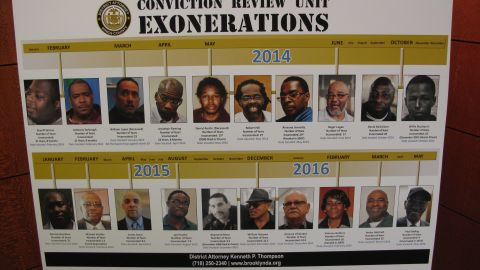 A posterboard in the Brooklyn District Attorney's office shows the faces of the 20 men and women who have been exonerated under Thompson's watch