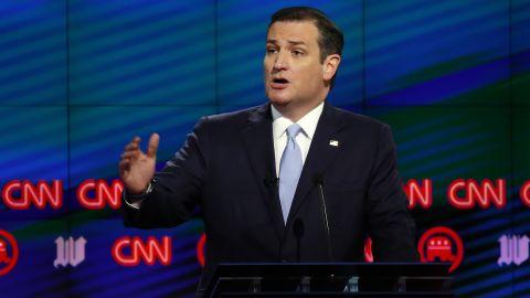 Cruz speaks during the CNN Republican debate in Miami on Thursday, March 10.