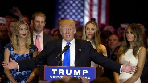 Republican presidential candidate Donald Trump is joined by his wife Melania, right, daughter Ivanka, left, and son Eric, background left, as he speaks during a primary night news conference, Tuesday, May 3, 2016, in New York. (AP Photo/Mary Altaffer)
