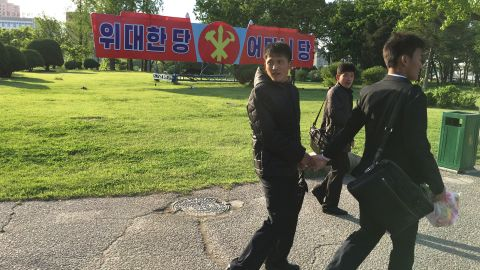 """Around every corner of Pyongyang are banners marking the upcoming congress. This one says """"Great party. Motherly party."""""""