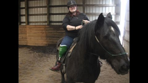 Emily Fuggetta's first time on horseback since losing her leg and her horse in a tragic accident six months before.