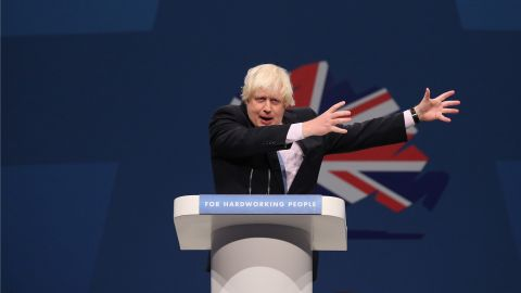 Johnson speaks at the Conservative Party Conference in Manchester, England, on October 1, 2013.