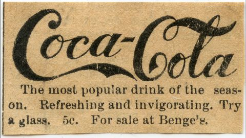 """<strong>1890:</strong> One of Coca-Cola's earliest print ads included the slogan """"refreshing and invigorating"""" as well as the original price for a glass: 5 cents. That price did not change until 1959, the company said."""
