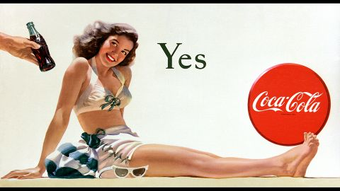 """<strong>1946:</strong> The Coca-Cola billboard """"Yes Girl"""" makes its debut. It was painted by Haddon Sundblom, who also created the iconic Coca-Cola Santa Claus."""