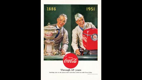 <strong>1951:</strong> This ad was released in celebration of Coca-Cola's 65th anniversary.
