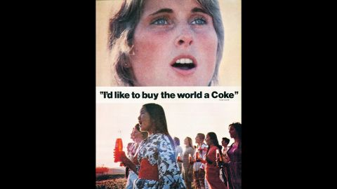 """<strong>1971:</strong> Perhaps the most famous Coca-Cola ad of all time, """"Hilltop,"""" debuted in 1971. The <a href=""""https://www.youtube.com/watch?v=1VM2eLhvsSM"""" target=""""_blank"""" target=""""_blank"""">television commercial</a> features an international group of people singing """"I'd Like to Buy the World a Coke."""""""