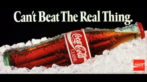 """<strong>1991: </strong>One of the most famous Coca-Cola advertising slogans, """"Can't Beat the Real Thing,"""" ran in various ads until 1993."""
