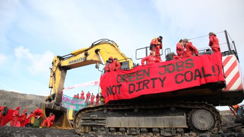 """About 300 """"Break Free"""" climate protestors temporarily shut down a South Wales coal mine on May 3. Similar demonstrations are planned worldwide."""