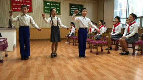 """Young singers practice their performance at a """"children's palace"""" in Pyongyang."""