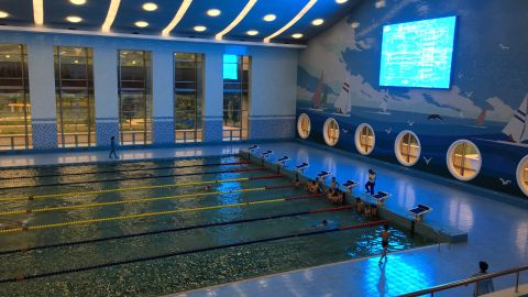 """An Olympic-sized swimming pool is a focal point of a """"children's palace"""" after-school center in Pyongyang."""