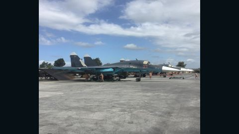 Two Russian SU-34s on the tarmac at Hmeymim base in northern Syria, May 4, 2016.