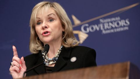 Gov. Mary Fallin, shown at the National Press Club in January 2014, says the law will not restrict people who want to adopt.