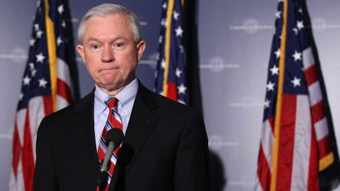 Sen. Jeff Sessions speaks to the media after the Senate Judiciary Committee voted on the Kagan confirmation during a markup hearing in July 2010.