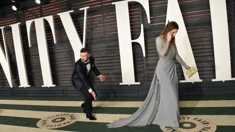 """Timberlake and Biel arrive at the Vanity Fair Oscar Party in February. A couple months later, he released a new single, """"Can't Stop the Feeling."""" It's featured on the soundtrack of the animated movie """"Trolls,"""" in which he voices one of the characters."""
