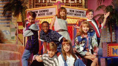 """In 1993, Timberlake was singing, dancing and acting in the Disney Channel's """"The Mickey Mouse Club"""" alongside a group that would later become a who's-who of teenage idols. Here, clockwise from upper center, are Nikki DeLoach, Timberlake, Christina Aguilera, Britney Spears, Ryan Gosling, T.J. Fantini and Tate Lynche."""