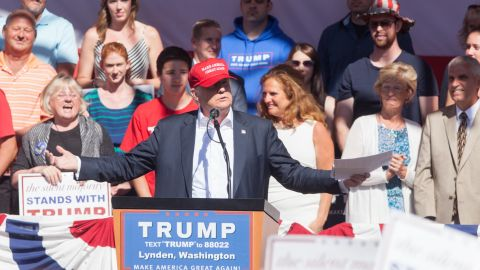 LYNDEN, WA - MAY 07: Republican presidential candidate Donald Trump gives a speech during a rally at the The Northwest Washington Fair and Event Center on May 7, 2016 in Lynden, Washington. Trump became the Republican presumptive nominee following his landslide win in Indiana on Tuesday. (Photo by Matt Mills McKnight/Getty Images)