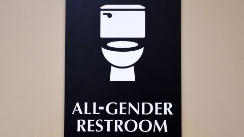 A sign is seen outside the Santee High School's gender neutral restrooms at their campus in Los Angeles, California on May 4, 2016.