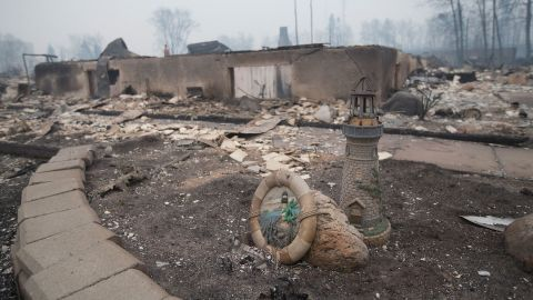 Remains of a home in Fort McMurray are seen on May 7.