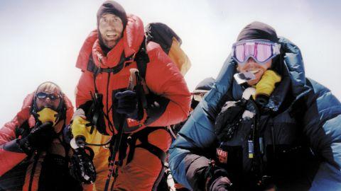 Erik Weihenmayer, center, reached the summit of Mount Everest in 2001.